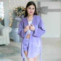 Женские спящие одежды HILOC 2021 весенний халат наборы с длинным рукавом бархат Pajamas набор и шорты фиолетовые синие женщины сплошной ношение