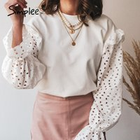 Simplee Solid knitted women work blouse Fashion flower pattern hollow long sleeve pullover Casual round neck ladies home blouse 201007