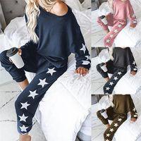 Autunno due pezzi set tucksuit da donna vestiti stella stampa pullover top + pantaloni sport jogger vestito femmina casual salotto abiti abiti