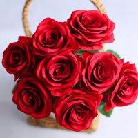 Dekoratif Çiçekler Çelenk 9 Kafa / Set Sevgililer Beyaz Pembe Kraliyet Gül Ipek Ev Yapay Düğün Buket Dekorasyon Dekor