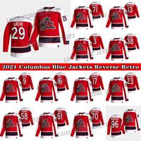 콜럼버스 블루 자켓 저지 2021 리버스 레트로 29 Patrik Laine 13 Cam Atkinson 3 Seth Jones 71 Foligno 72 Sergei Bobrovsky Hockey Jerseys