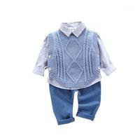 Rahat Çocuk Takım Elbise 2020 Sonbahar Çocuk Takım Elbise Pamuk Erkek Uzun Kollu Gömlek Kazak Yelek Pantolon 3 adet Bebek Giysileri 0-4 Yıl 1