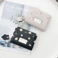 الأزياء الصغيرة الطازجة الزهور سستة مشبك اثنين أضعاف المحفظة الإناث طالب يد عملة محفظة