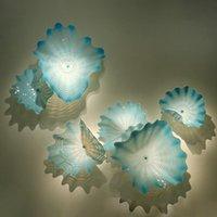 Aqua azul lámpara luz estilo mar estilo decorativo placa de murano placas de flores de cristal decoración de la pared de la pared