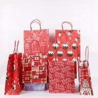 large Christmas Gift Kraft Paper Bag Creative red Cute Cartoon Christmas Packaging Tote Bag Festival Gift Packaging bags