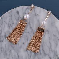 Neue Mode Tassel Lange Quaste Perle Ohrringe Kupfer Kristall Lange Tropfen Ohrringe Frauen Hochzeitsaussage Schmuck Party Schmuck Geschenke 121 m2