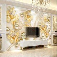 Milofi benutzerdefinierte große vlies tapete mural europäische goldschmuck blume 3d fernseher hintergrund wall1