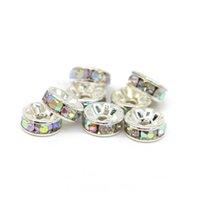 Tüm Boyutu Rondelle Spacer Boncuk Gümüş Ton Kristal AB Çek Kristal Takı Yapımı için, 100 adet / torba, IA001-05 A19PQ