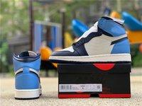 New Basketball Shoes Jumpman 1 Retro Alta Obsidiana UNC 575441-140 Vela / Obsidian-University Blue Rivoli Sneaker, Homens Designer Dress Sapatos Desi