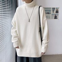 Korean Couple Style Sweater Men Women Turtleneck Long Sleeve Solid Color Knitwear Top Quality Student Simple Casual Loose Jumper