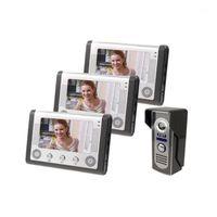 """Görüntülü Kapı Telefonları Yobang Security 3 Monitör Kitleri Ev Interkom Telefon 7 """"Kapı Zili Kamera Erişim Kontrol Sistemi1"""