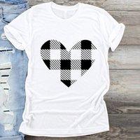 Kobiety Plaid Love Heart Happy Happy Time Wesołych Świąt Boże Narodzenie Wydruku Ubrania Graficzna Top T Shirt Damskie Kobiece Tshirts Tee T Shirt