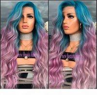 Yeni Moda Peruca Cabelo Derin Uzun Vücut Dalga Saç Peruk Ünlü Stil Mavi Ombre Pembe Mor Sentetik Dantel Ön Peruk Kadınlar için