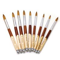 Kaliteli Kolinsky Akrilik Nail Art Fırça UV Jel Lehçe Oyma Sıvı Toz Saç Çizim Kalem Ahşap Saplı