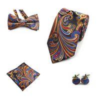 JEMYGINS 4PCS Tie Set Men Bow Tie et Mouchoir Bowtie Boutons de manchette 8cm cravate 100% soie pour les affaires cravate de mariage Parti Hombre