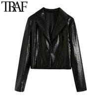Kadın Takım Elbise Blazers TRAF Kadınlar Moda Faux Deri Kırpılmış Blazer Ceket Vintage Uzun Kollu Tek Düğme Kadın Giyim Şık Tops