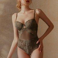 유럽 섹시한 레이스 바디 콘 여성 속옷 자 수 중공 브래지어 세트 프랑스 아름 다운 다시 투명 바디 수트 onesies