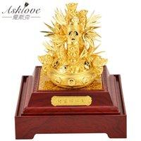 Декоративные объекты статуэтки Asklove Gold Foil 3D богатство бамбуковые украшения Feng Shui Bonsai Bortunate орнамент открытие подарков Главная Decoratio