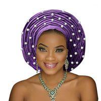 الملابس العرقية رائع الأفريقي headtie aso oke gele headwrap الأزياء النيجيري ebi العمامة المرأة رئيس جير 1