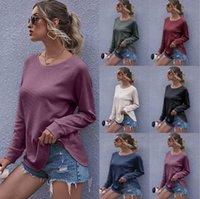 Sweat-shirts Lady lâche col rond manches longues Costume couleur unie Jumper Pull-vêtement Vêtements blouse ample Hauts T-shirt KKF1858