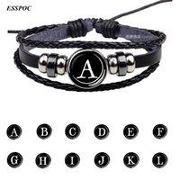 26 Letters Personalidade do nome da equipe Corda Black Leather Bracelet Botão Presentes Bangle Homens Mulheres de aniversário de moda