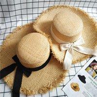 اليدوية المرأة القش الشمس القبعات كبيرة واسعة حافة 9-11 سنتيمتر gilrs الطبيعية raffia panama شقة أعلى شاطئ سترو sunhat قبعات لقضاء عطلة