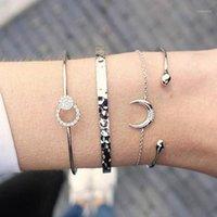 Теннис европейская американская модная звезда луна хрустальные обертывающие браслеты ювелирные изделия для женщин четырехсектура набор браслетов манжеты браслеты Femme1