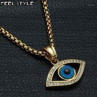 Collares colgantes Hip Hop Acero inoxidable Bling Iced Out Evil Eye Pendants IP Oro Llena Collar de piedra natural para hombres Joyería1