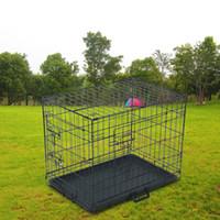 "Dog Carrier Discount Design 24 ""Pet Kennel Cat Pieghevole in acciaio Casse Animal Playpen Filo Metallo"