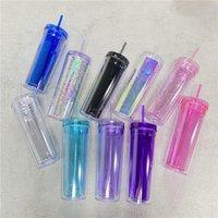 10 Cores 20oz Acrílico Skinnny Tumbler com tampa de palha dupla paredida como copos de plástico reutilizáveis Limpar garrafas de água de viagem reta RRA4063