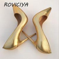 Altın kadının ayakkabı kadın pompaları sivri burun yüksek topuk stiletto klasik pompalar pompalar balo ayakkabı roviciya lj201112