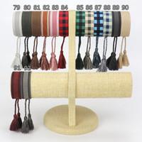 Spot neuester Baumwoll-Gewebe-Buchstaben-Stickerei-Tassel-Armband-Lace-up-Armband einstellbares Festival-Armbänder geflochtene Handseil Paar Geschenke