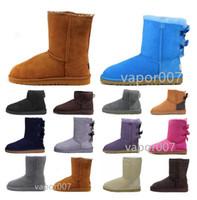 ugg ugs Avustralya Yeni 2021 Wgg Kestane Yarım Ayak Bileği Çizmeler Kadınlar Kızlar için Kırmızı Gri Kahve Kar Boot Bailey Ilmek Boot Sıcak Kış Ayakkabı EUR 3 T9NM #