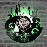 Старинные виниловые рекордные настенные часы с 7 светодиодным освещением Кошмар перед рождественским светом настенные часы висит часы домашнего декора Y200109