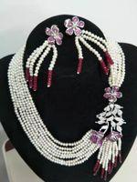 Fermoir Fleurs Micro Inlay Zircon Accessoires blanches d'eau douce de perles de perles de perles de perles de perles de jade collier de jeux de mode de mode bijoux de mode