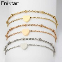 Charm Bilezikler Fnixtar 20 adet 22 + 5 cm Çift Katmanlı Zincir Kalp Ayna Lehçe Paslanmaz Çelik Halhal Bacak Kadınlar için