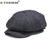 BUTTERMERE Mens Plaid piatto Beret berretto di lana grigio inverno autunno Vintage Newsboys berretti maschio britannico Cabbie ottagonale Gatsby