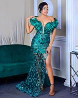 2020 Arabic Aso Ebi Sparkly Sexy Lace Evening Dresses High Split Prom Dresses Mermaid Formal Party Second Reception Gowns ZJ204