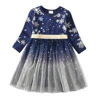 Vikita crianças vestidos para meninas manga comprida snowflake lantejoulas vestido ano novo traje princesa vestido crianças roupas de natal vestir 201204