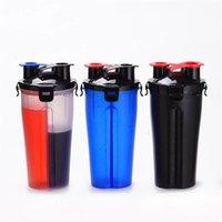 Proteína Powder Shaker Garrafa Personalizado 700ml Plástico Cabeça Dupla Fitness BPA Free Lekcproof Sport Mixer Garrafa de água 201118