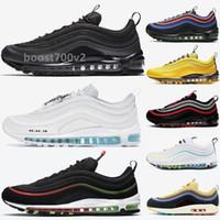 مع صندوق 97 رجل الاحذية الثلاثي أسود أبيض 97S عاكس bred لعبة رويال الرجال النساء الرياضة أحذية رياضية