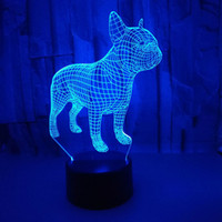 Changeable Remote Touch Control Vision lampada Colorful 3D Night Lights atmosfera francese Bulldog 3D piccola lampada da tavolo regalo di Natale