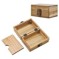 손으로 롤링 담배 상자 나무 숨기기 저장 케이스 수제 나무 흡연 담배 도구 액세서리 28xB H1을 쉽게 운반 할 수 있습니다