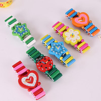 Fashion Childrens Watch Wooden Watchband Multi Design Heart ...