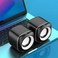 Altavoces de combinación Mini Altavoz Computador Altavoz Cableado de USB Subwoofer 4D Estéreo Surround Altavoz para PC Laptop Desktop No Bluetooth Sand Barbar