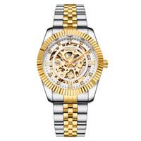 Chenxi الميكانيكية الأوتوماتيكية الساعات الذهب الحافة مضيئة مؤشر الهيكل العظمي الجوفاء ساعة اليد الفولاذ المقاوم للصدأ مشبك ساعة -رجال