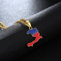 قلادة القلائد هايتي خريطة قلادة للنساء العلم أنا أحب المعلقات الرجال Ayiti الذهب لون مجوهرات خرائط من بيجو فام