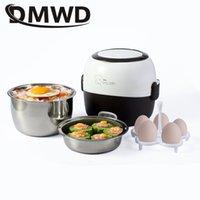 DMWD Mini Cocina de arroz Calefacción térmica Caja de almuerzo eléctrico 2 capas Alimentación portátil Vaporera Cocina Contenedor de comida Almuerzo Cálculo T200709