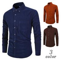 남성 캐주얼 셔츠 겨울 보그 블루 코튼 코듀로이 셔츠 남성 남녀 긴 소매 복고풍 따뜻한 열 소셜 남성 대형 빈티지 3XL