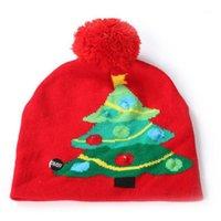 الوالد والطفل الملونة عيد ميلاد سعيد قبعة للنساء الرجال الاطفال led light-up قبعة متماسكة قبعة الشتاء قبعة شعر كريستال كاب # 31